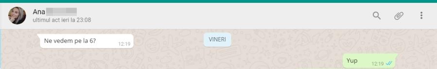 Captură conversație ecran Whatsapp